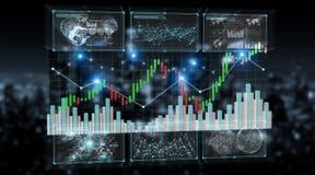 3D rendering stock exchange datas and charts illustration. On dark background vector illustration