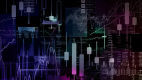 3D rendering of stock indexes in virtual space. Economic growth, recession. Electronic virtual platform showing trends and stock market fluctuations stock images