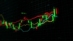 3D rendering of stock indexes in virtual space. Economic growth, recession. Electronic virtual platform showing trends and stock market fluctuations royalty free stock photo