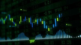 3D rendering of stock indexes in virtual space. Economic growth, recession. Electronic virtual platform showing trends and stock market fluctuations royalty free stock image