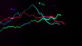 3D rendering of stock indexes in virtual space. Economic growth, recession. Electronic virtual platform showing trends and stock market fluctuations royalty free stock photos