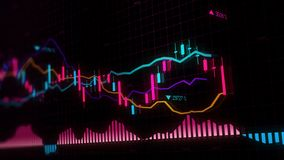 3D rendering of stock indexes in virtual space. Economic growth, recession. Electronic virtual platform showing trends and stock market fluctuations stock photos