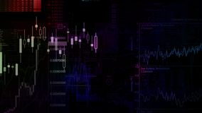 3D rendering of stock indexes in virtual space. Economic growth, recession. Electronic virtual platform showing trends and stock market fluctuations royalty free stock photography