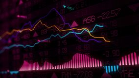 3D rendering of stock indexes in virtual space. Economic growth, recession. Electronic virtual platform showing trends and stock market fluctuations stock photography