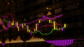 3D rendering of stock indexes in virtual space. Economic growth, recession. Electronic virtual platform showing trends and stock market fluctuations royalty free stock images