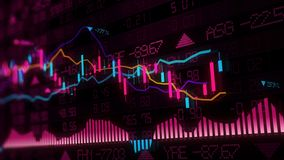 3D rendering of stock indexes in virtual space. Economic growth, recession. Electronic virtual platform showing trends and stock market fluctuations stock image