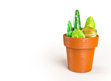 3D rendering of stones decoration on a pot like a cactus with a. Clipping paths Royalty Free Stock Image