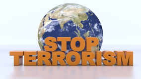 Stop terrorism text and world map. 3d rendering. Stop terrorism text and world map Stock Photography