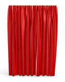 3d rendering of a straight red closed curtain isolated on white background. Royalty Free Stock Images
