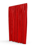 3d rendering of a straight red closed curtain isolated on white background. Stock Photo