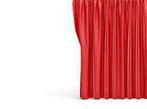 3d rendering of a straight red closed curtain on white background. Royalty Free Stock Images