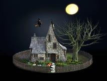 3D rendering straszny dom i latająca czarownica Ilustracja Wektor