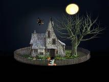 3D rendering straszny dom i latająca czarownica Royalty Ilustracja