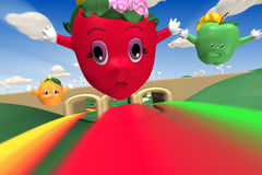 3d rendering of strawberry, orange and green apple. Characters flying with rainbow Stock Photography