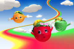 3d rendering of  strawberry, orange and green apple characters f. Lying with rainbow Royalty Free Stock Image