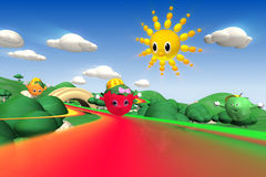 3d rendering of  strawberry, orange and green apple characters Royalty Free Stock Photo