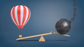 3d rendering of a striped air balloon hovers at a wooden seesaw overweighing a wrecking ball that breaks the plank. Traveling plans. Unexpected problems Royalty Free Stock Photography