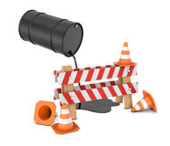 3d rendering of a striped roadblock sign beside several traffic cones and a barrel leaking oil on them from above. Stock Photo