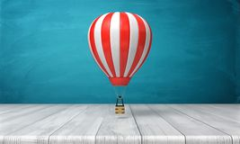 3d rendering of a striped white and red hot air balloon hanging over a wooden desk on a blue background. Travelling and adventure. Luxury leisure and vacations Stock Photo