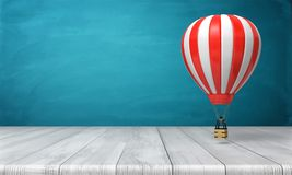 3d rendering of a striped white and red hot air balloon hanging over a wooden desk on a blue background. Travelling and adventure. Luxury leisure and vacations Royalty Free Stock Photos