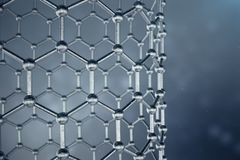 3D rendering structure of the graphene tube, abstract nanotechnology hexagonal geometric form close-up. Graphene atomic. Structure concept, carbon structure stock illustration