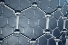 3D rendering structure of the graphene tube, abstract nanotechnology hexagonal geometric form close-up. Graphene atomic. Structure concept, carbon structure Stock Images