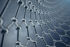 3D rendering structure of the graphene tube, abstract nanotechnology hexagonal geometric form close-up. Graphene atomic. Structure concept, carbon structure Royalty Free Stock Photo