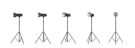 3d rendering of a studio photo flash with reflector stand in different angles. Light redirection tools. Lighting equipment. Professional photo shoot tools Stock Photos