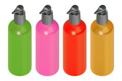 3d rendering studio shot a set of multicolor skincare bottle green, pink, red, yellow isolated on white background with clipping vector illustration