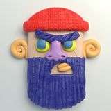 3d rendering of stylized cartoon head. Colorful plasticine figure. Realistic clay model. Isolated on white background. Angry bearded man Royalty Free Stock Photography