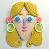 3d rendering of stylized cartoon head. Colorful plasticine figure. Realistic clay model. Isolated on white background. Woman with long blond hair Stock Image