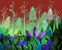 3d rendering of stylized jungle plants royalty free illustration