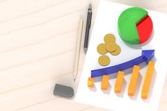3d rendering of successfully report graph on white paper and wooden table with gold coins and with equipment. 3d rendering of successfully report graph on white Stock Photos