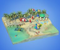 3d rendering of sunny beach. Piece of tropical island with water and sand in cross section. Colorful Illustration of vacation with palms, sun umbrellas, lounge Royalty Free Stock Photography