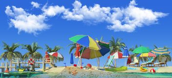 3d rendering of sunny beach. Piece of tropical island with water and sand in cross section. Colorful Illustration of vacation with palms, sun umbrellas, lounge Stock Images