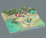 3d rendering of sunny beach. Piece of tropical island with water and sand in cross section. Colorful Illustration of vacation with palms, sun umbrellas, lounge Royalty Free Stock Photos