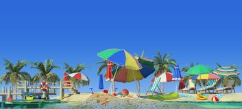 3d rendering of sunny beach. Piece of tropical island with water and sand in cross section. Colorful Illustration of vacation with palms, sun umbrellas, lounge Stock Photos