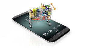 3D rendering of supermarket cart on smartphone's screen Royalty Free Stock Photography
