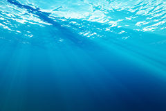 3d rendering surface underwater blue background in sea Stock Image