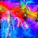 Spirit. 3D rendering. Surreal oil painting. Human`s spirit in vivid colorful universe Stock Photo
