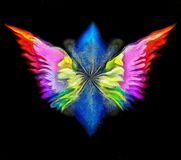 Angel`s wings. 3D rendering. Surreal painting. Angel`s wings in colors of rainbow Royalty Free Stock Image