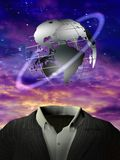 Global man. 3D rendering. Surrealism. Globe with orbital ring is over man`s suit. Purple clouds Stock Image
