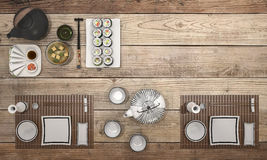 3d rendering sushi plate with bowl soup on wooden table. 3d design and rendering  by 3dsmax Royalty Free Stock Images