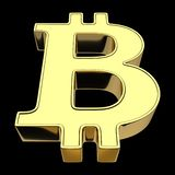3D rendering of a symbol of cryptocurrencies - bitcoin, gold, isolated on black background vector illustration