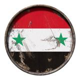 Old Syria flag. 3d rendering of a Syria flag over a rusty metallic plate. Isolated on white background Stock Image