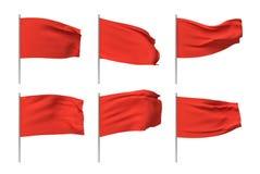3d rendering sześć czerwonych flag wiesza na pocztach i ono waha się na białym tle ilustracji