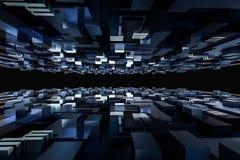 3d rendering, sześcian deski przestrzeń, świat fantazji obrazy stock