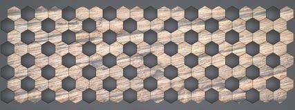 3D rendering sześciokątów ścienni panel, Materialny czarny klingeryt z starym drewnem dla twój projekta lub wewnętrznego projekta royalty ilustracja