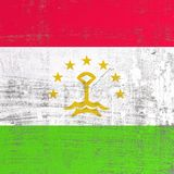 Scratched Tajikistan flag. 3d rendering of Tajikistan flag in a scratched surface Stock Photo