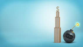 3d rendering of a tall high-rise with a large dollar sign   Stock Photo